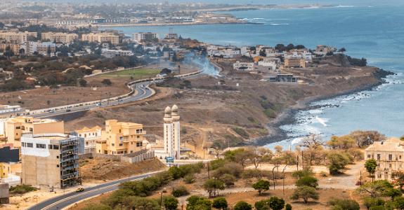 Pohľad z lietadla na Dakar, Senegal